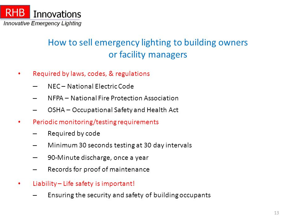 How to sell emergency lighting to building owners or facility managers