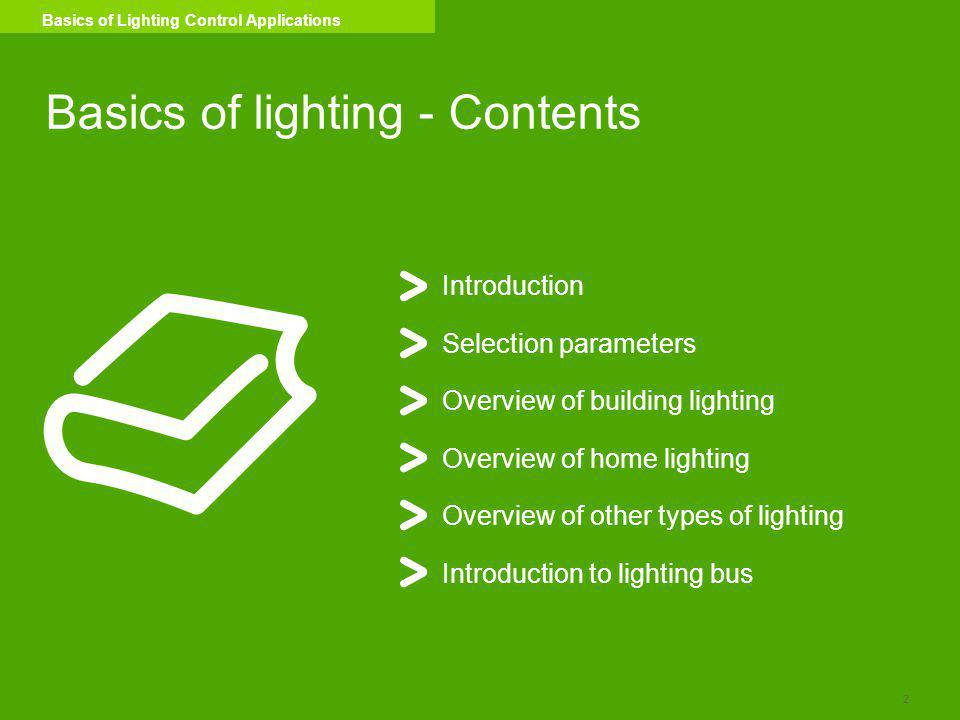 Basics of lighting - Contents