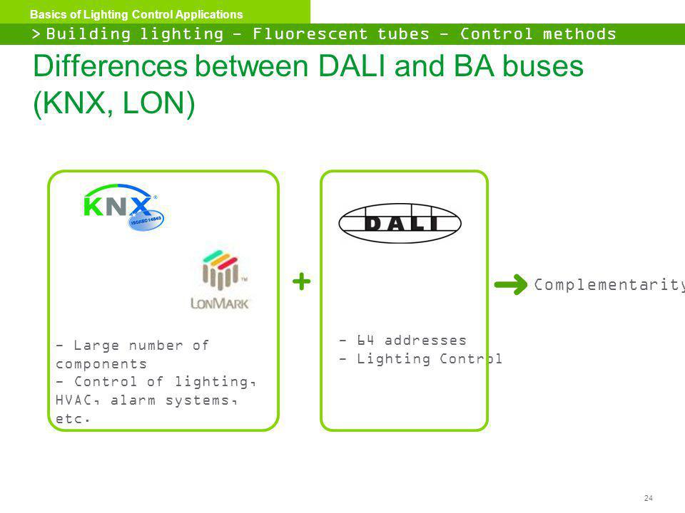 Differences between DALI and BA buses (KNX, LON)