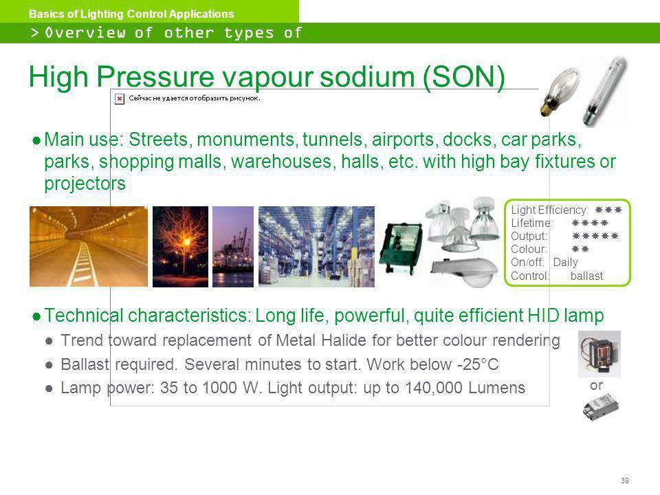 High Pressure vapour sodium (SON)