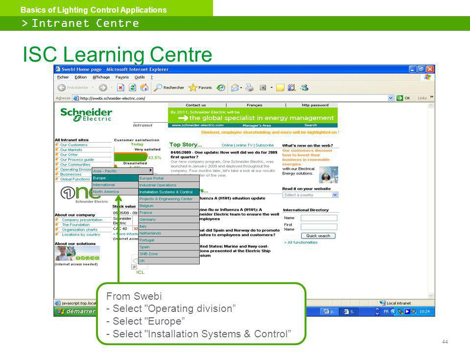 ISC Learning Centre > Intranet Centre From Swebi