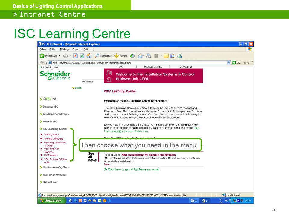 ISC Learning Centre > Intranet Centre