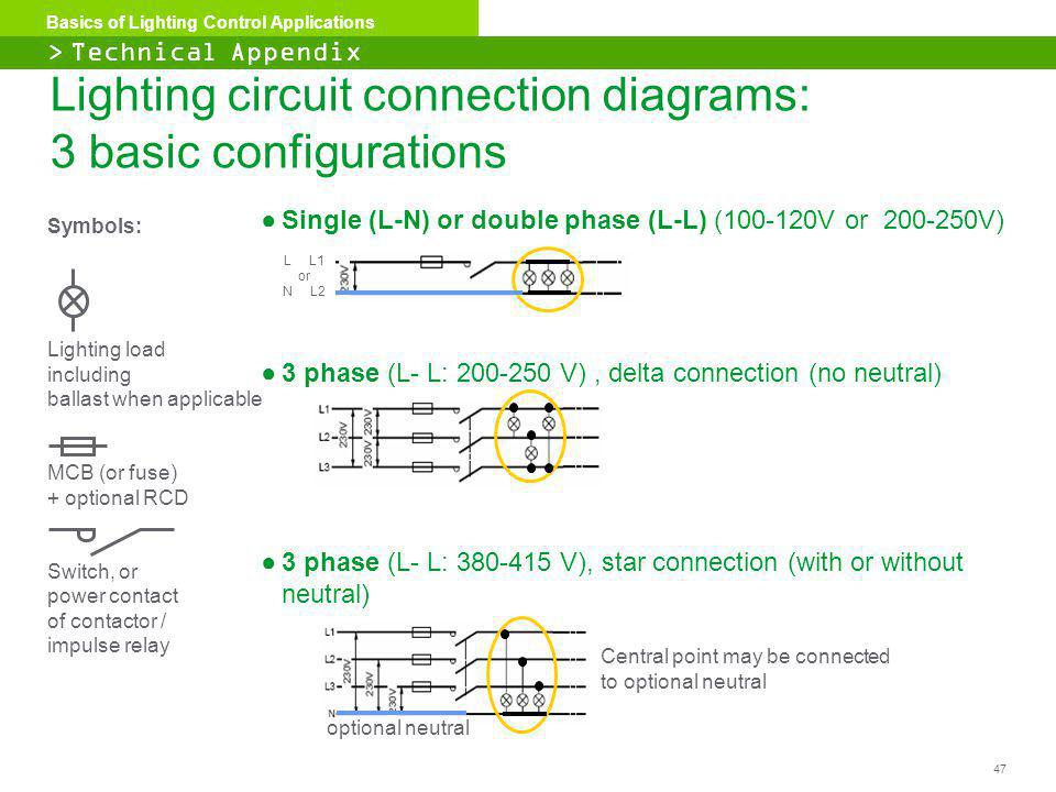 Lighting circuit connection diagrams: 3 basic configurations