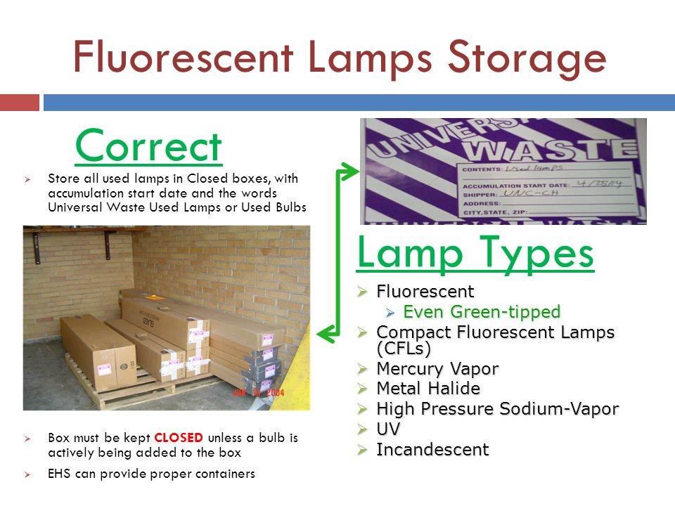 Fluorescent Lamps Storage
