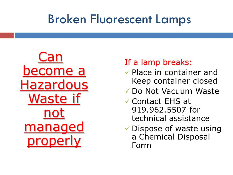 Broken Fluorescent Lamps