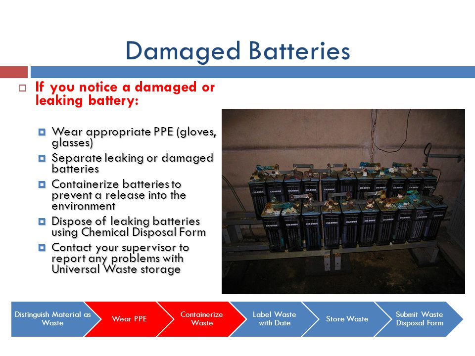 Damaged Batteries If you notice a damaged or leaking battery: