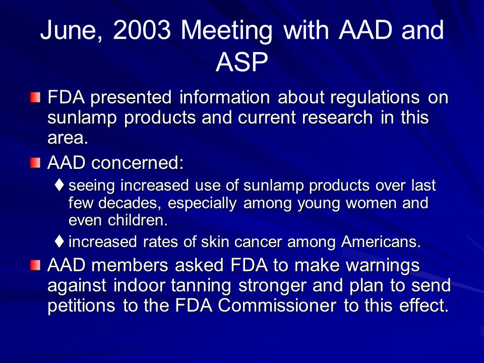 June, 2003 Meeting with AAD and ASP