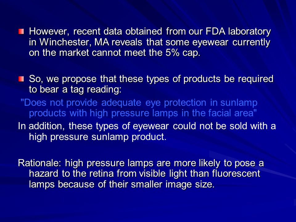 However, recent data obtained from our FDA laboratory in Winchester, MA reveals that some eyewear currently on the market cannot meet the 5% cap.
