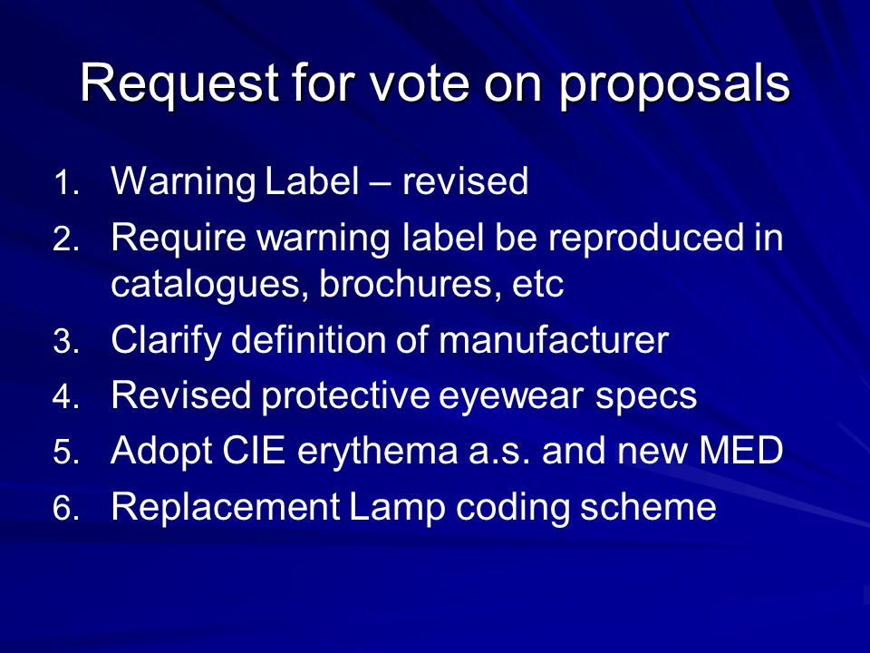 Request for vote on proposals
