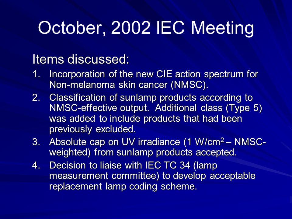 October, 2002 IEC Meeting Items discussed: