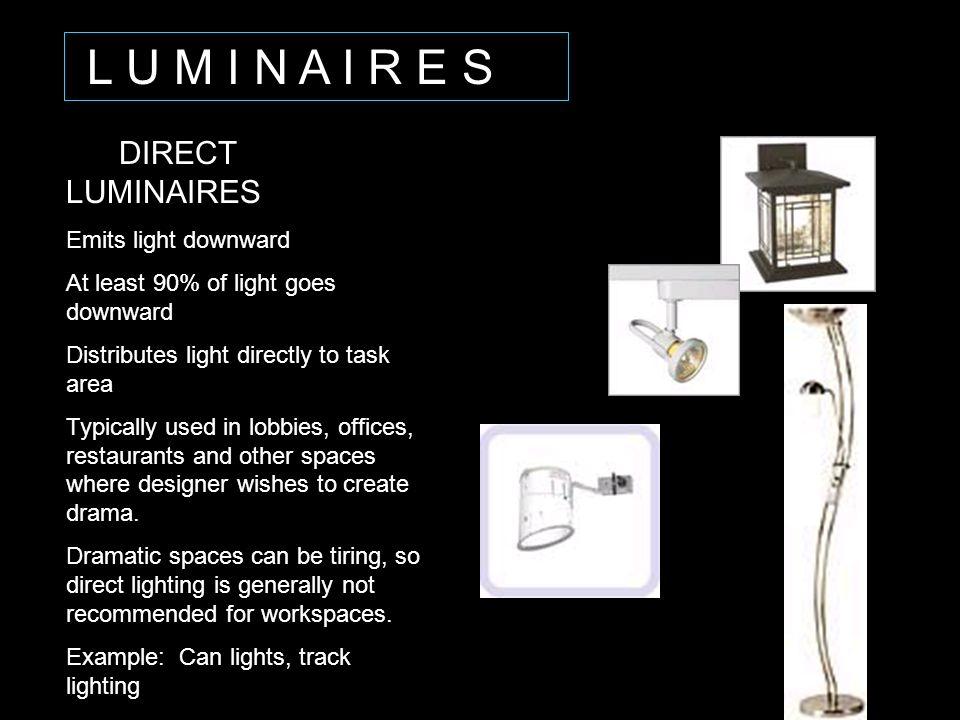 L U M I N A I R E S DIRECT LUMINAIRES Emits light downward