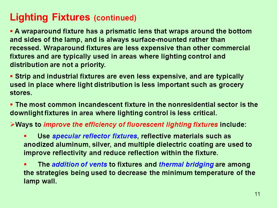 Lighting Fixtures (continued)