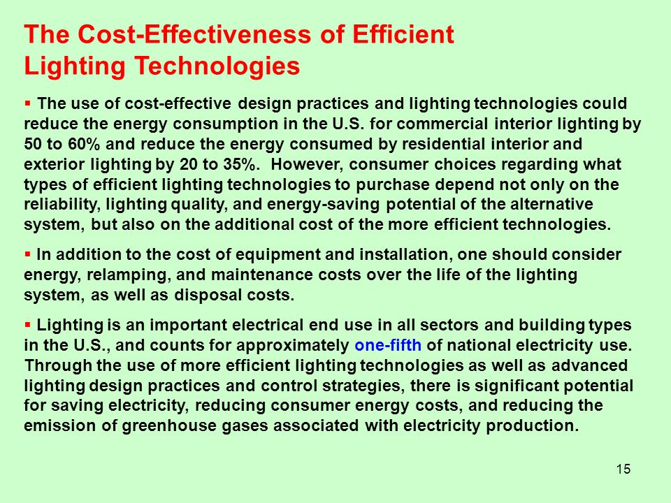 The Cost-Effectiveness of Efficient Lighting Technologies