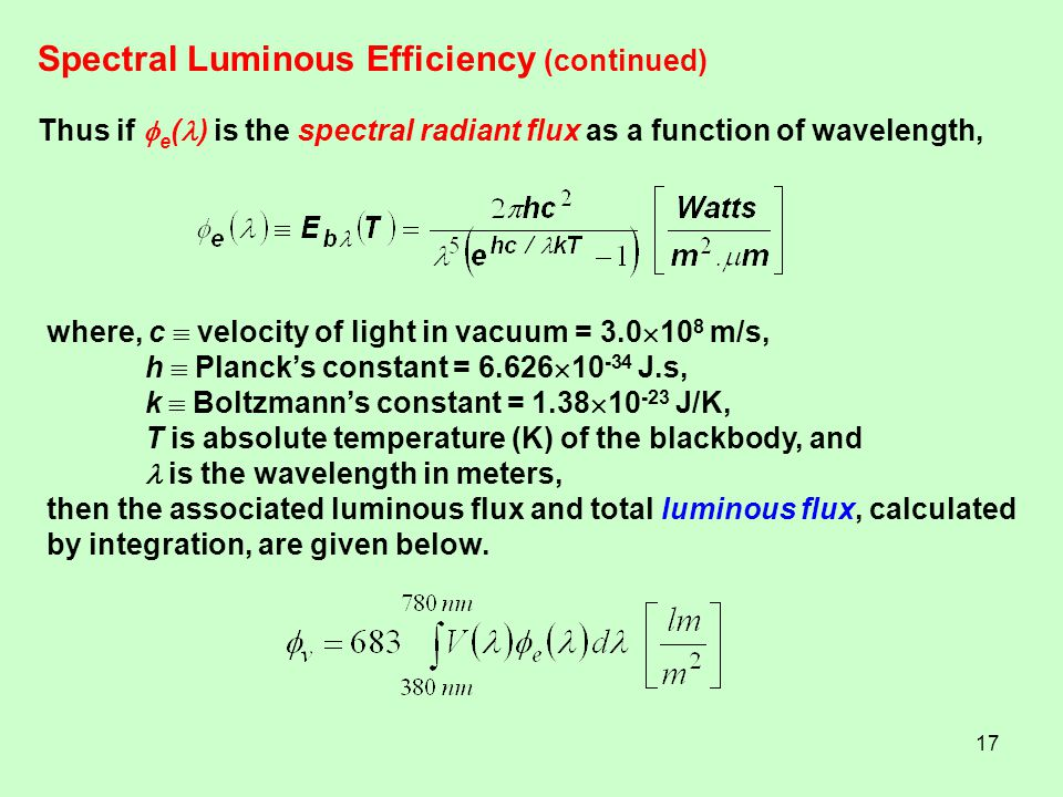Spectral Luminous Efficiency (continued)
