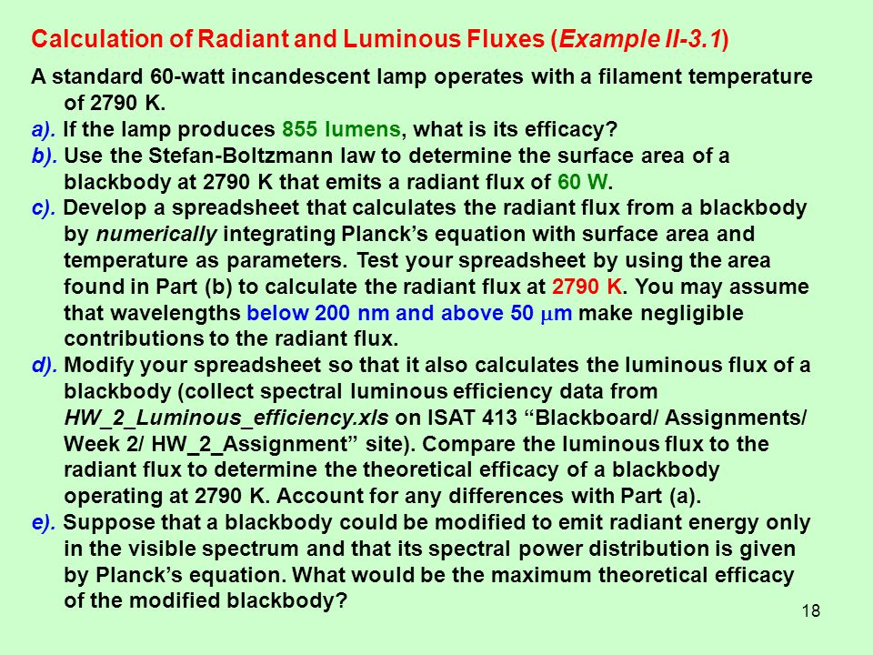 Calculation of Radiant and Luminous Fluxes (Example II-3.1)