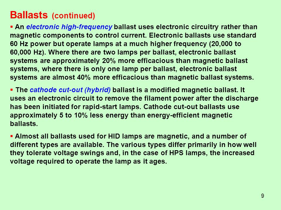 Ballasts (continued)