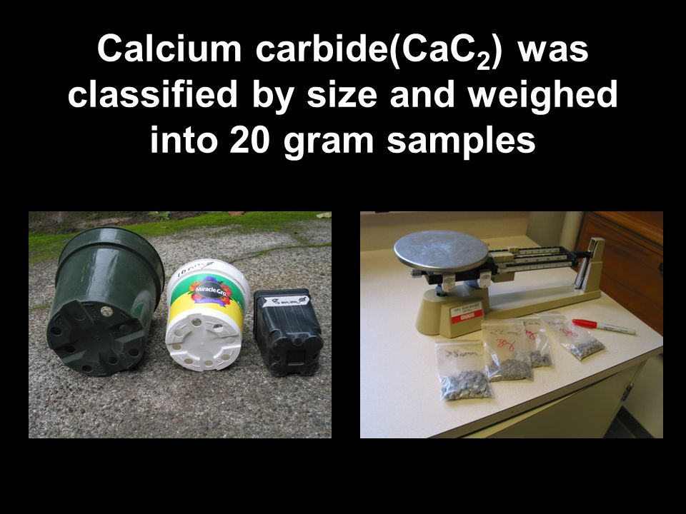 Calcium carbide(CaC2) was classified by size and weighed into 20 gram samples