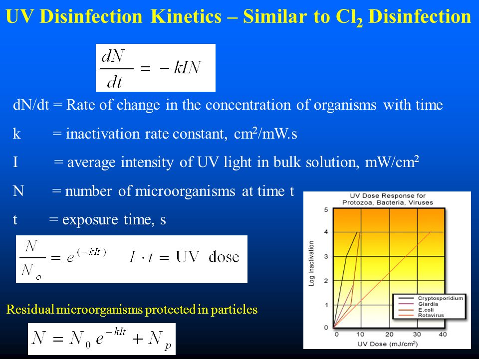 UV Disinfection Kinetics – Similar to Cl2 Disinfection