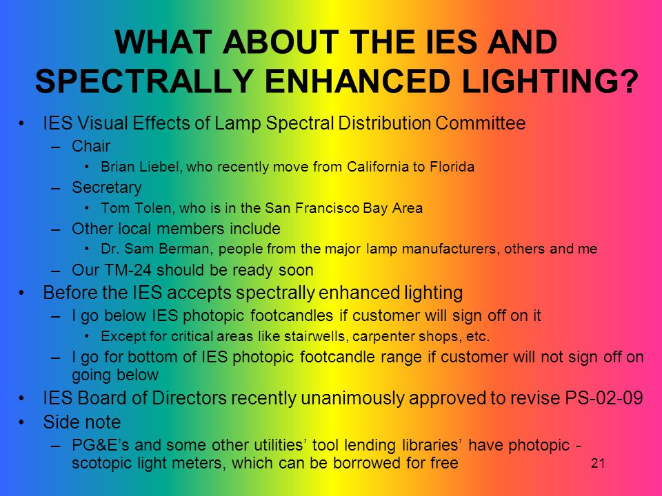 WHAT ABOUT THE IES AND SPECTRALLY ENHANCED LIGHTING