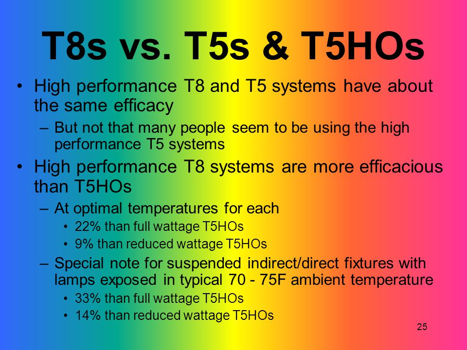 T8s vs. T5s & T5HOs High performance T8 and T5 systems have about the same efficacy.