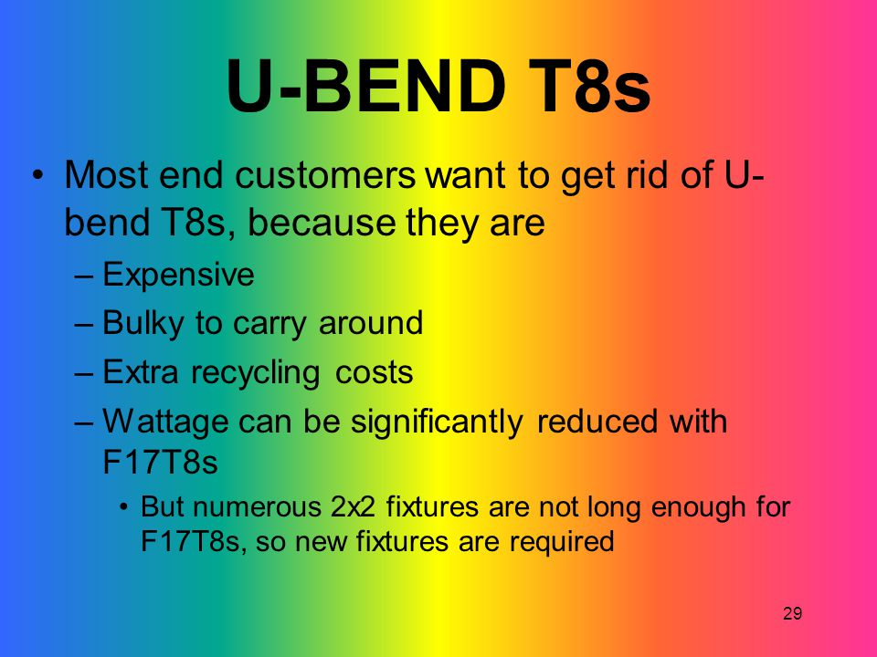 U-BEND T8s Most end customers want to get rid of U-bend T8s, because they are. Expensive. Bulky to carry around.