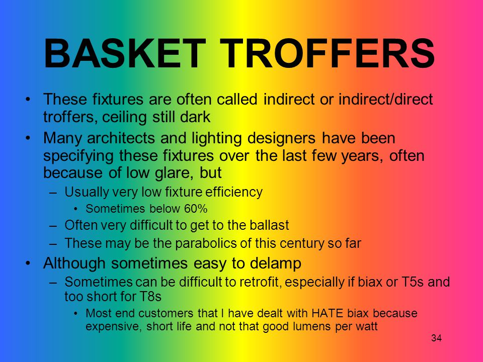 BASKET TROFFERS These fixtures are often called indirect or indirect/direct troffers, ceiling still dark.