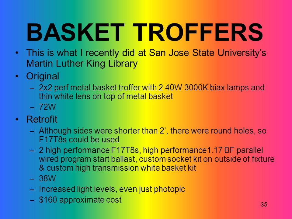 BASKET TROFFERS This is what I recently did at San Jose State University's Martin Luther King Library.