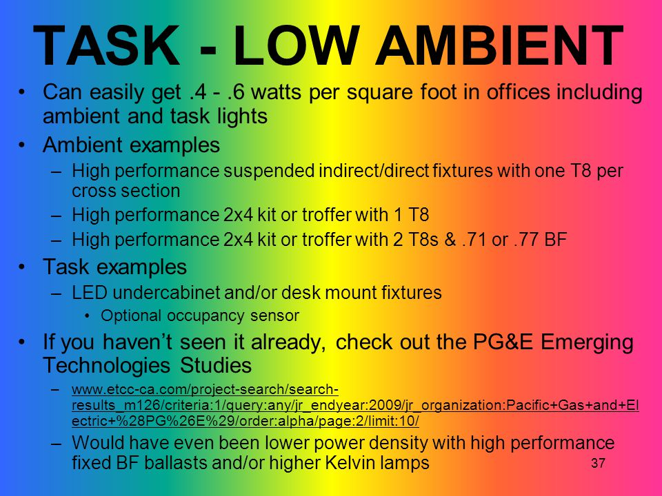 TASK - LOW AMBIENT Can easily get .4 - .6 watts per square foot in offices including ambient and task lights.