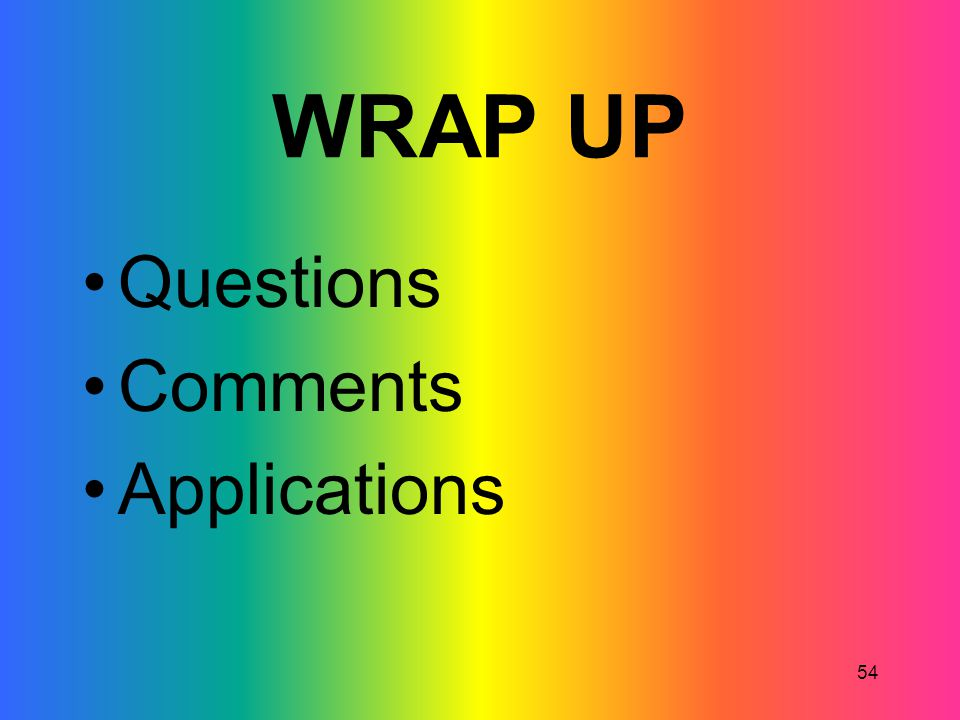 WRAP UP Questions Comments Applications