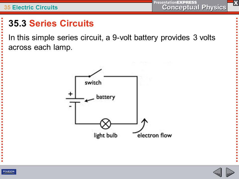 35.3 Series Circuits In this simple series circuit, a 9-volt battery provides 3 volts across each lamp.