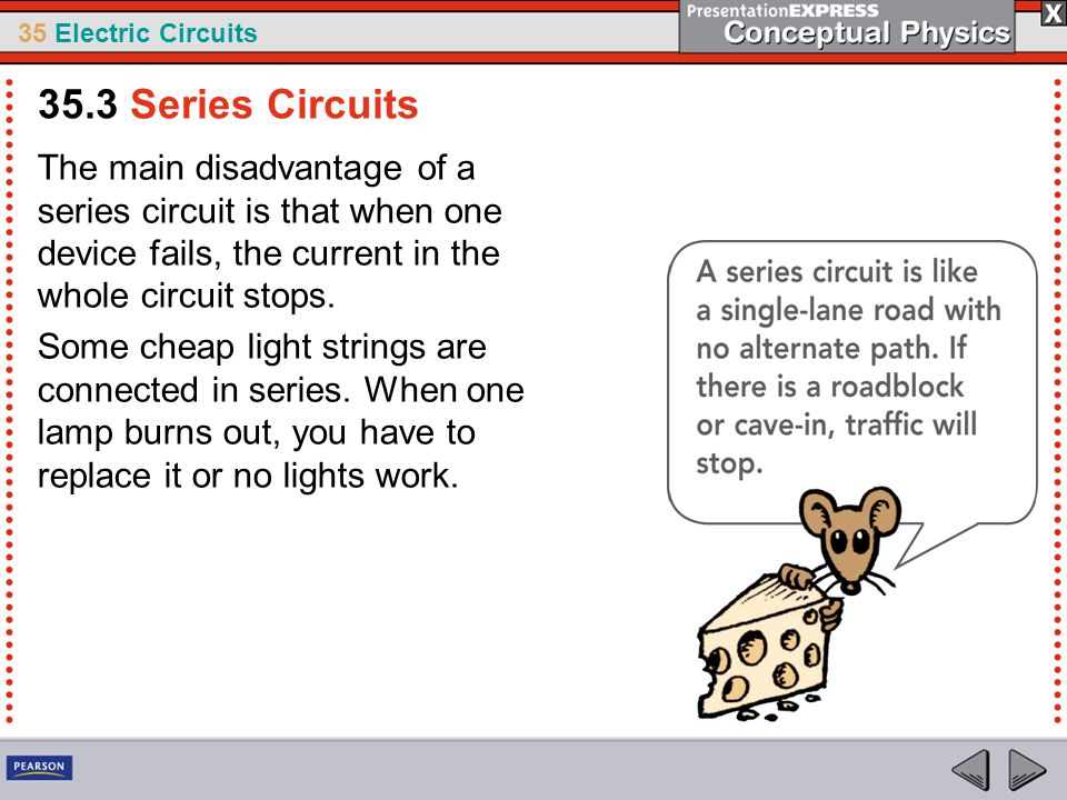 35.3 Series Circuits The main disadvantage of a series circuit is that when one device fails, the current in the whole circuit stops.