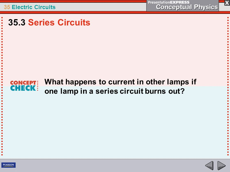 35.3 Series Circuits What happens to current in other lamps if one lamp in a series circuit burns out