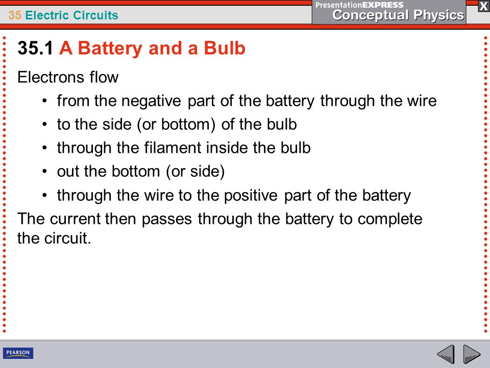 35.1 A Battery and a Bulb Electrons flow