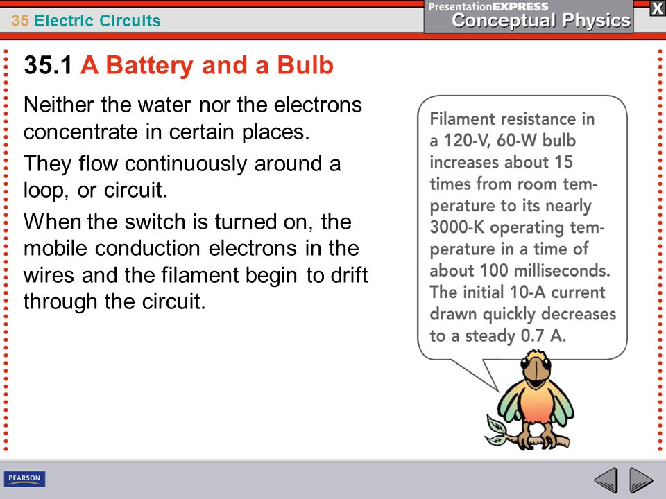 35.1 A Battery and a Bulb Neither the water nor the electrons concentrate in certain places. They flow continuously around a loop, or circuit.