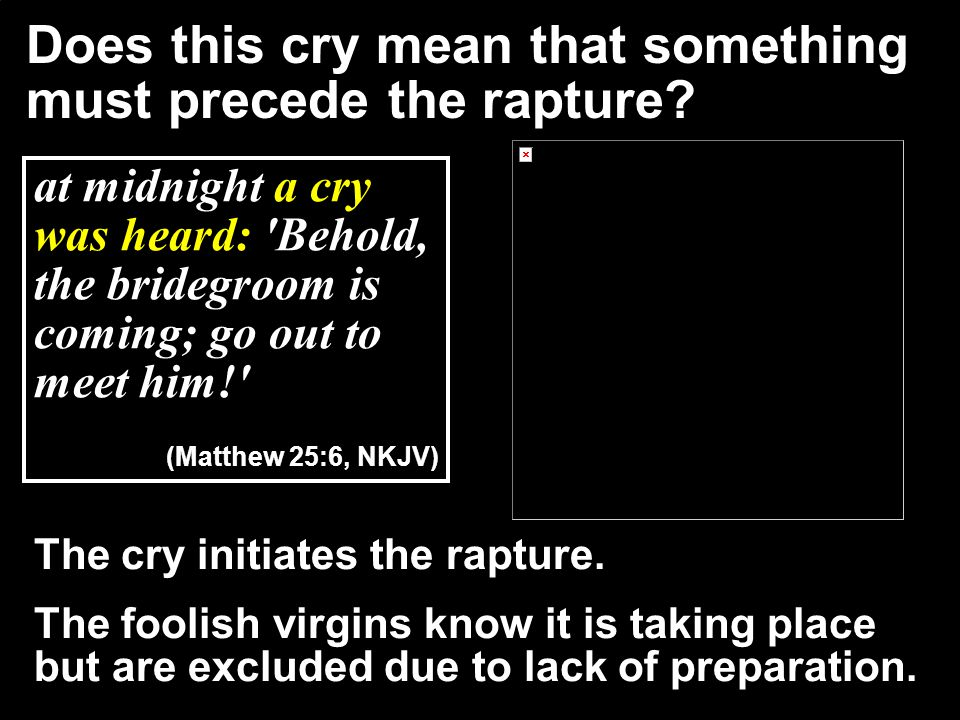 Does this cry mean that something must precede the rapture
