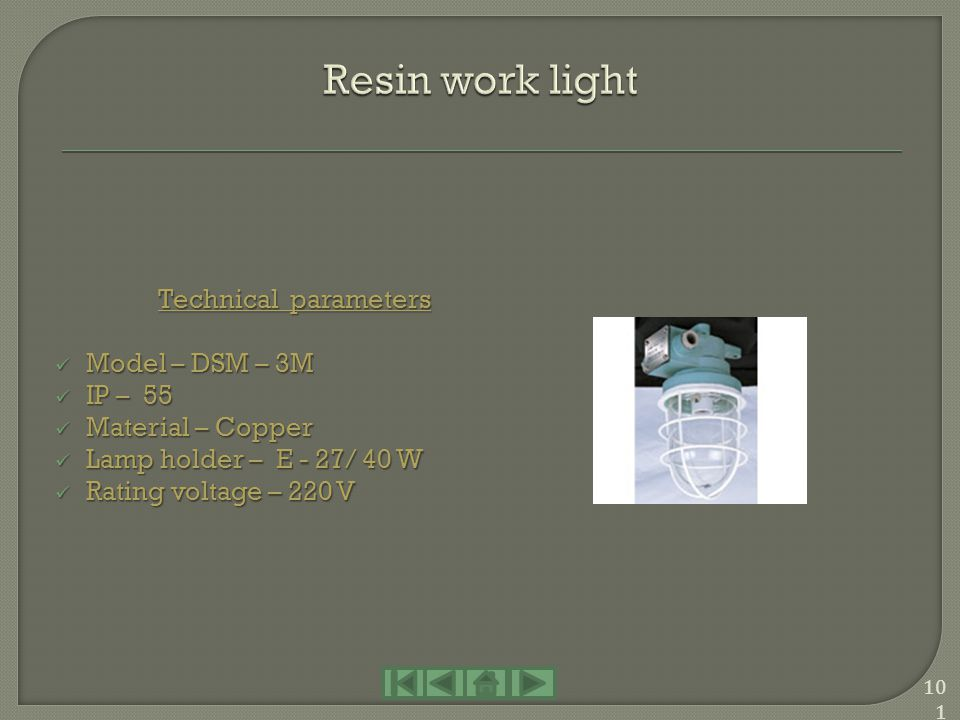 Resin work light Technical parameters Model – DSM – 3M IP – 55