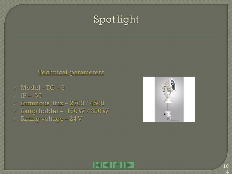 Spot light Technical parameters Model – TG – 9 IP – 56