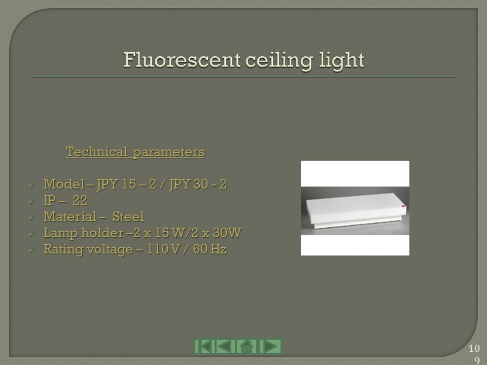 Fluorescent ceiling light
