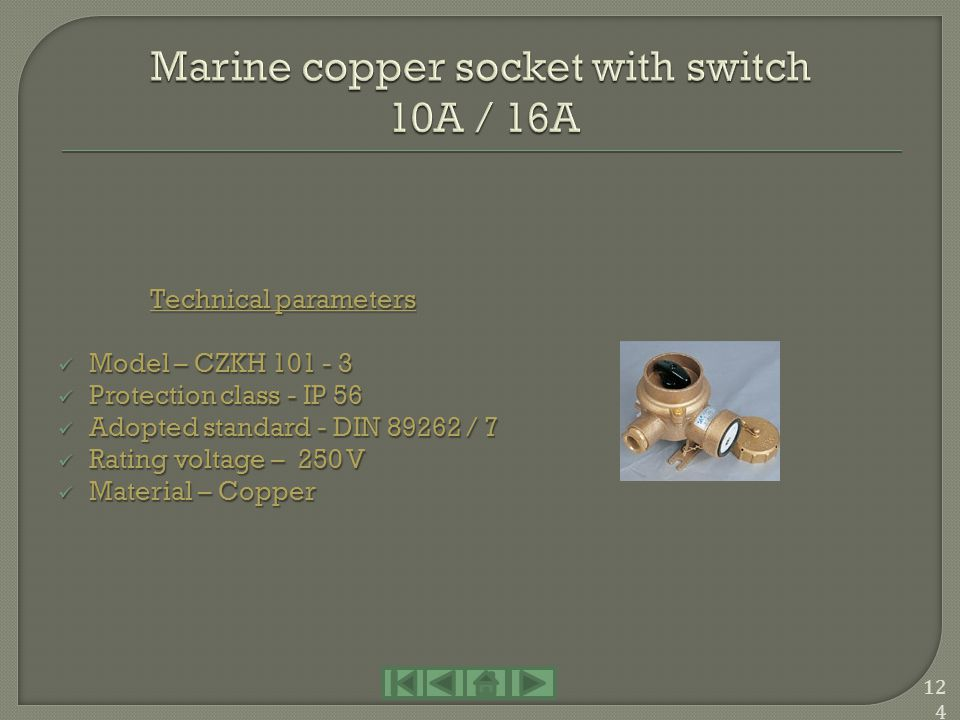 Marine copper socket with switch 10A / 16A