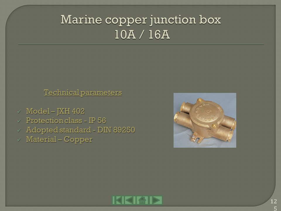 Marine copper junction box 10A / 16A