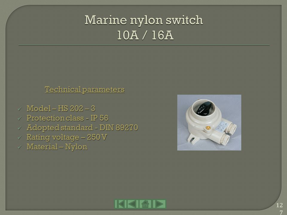 Marine nylon switch 10A / 16A