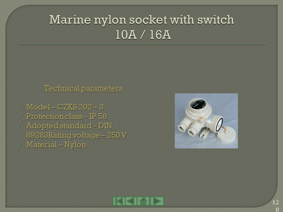 Marine nylon socket with switch 10A / 16A