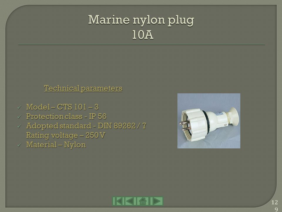 Marine nylon plug 10A Technical parameters Model – CTS 101 – 3