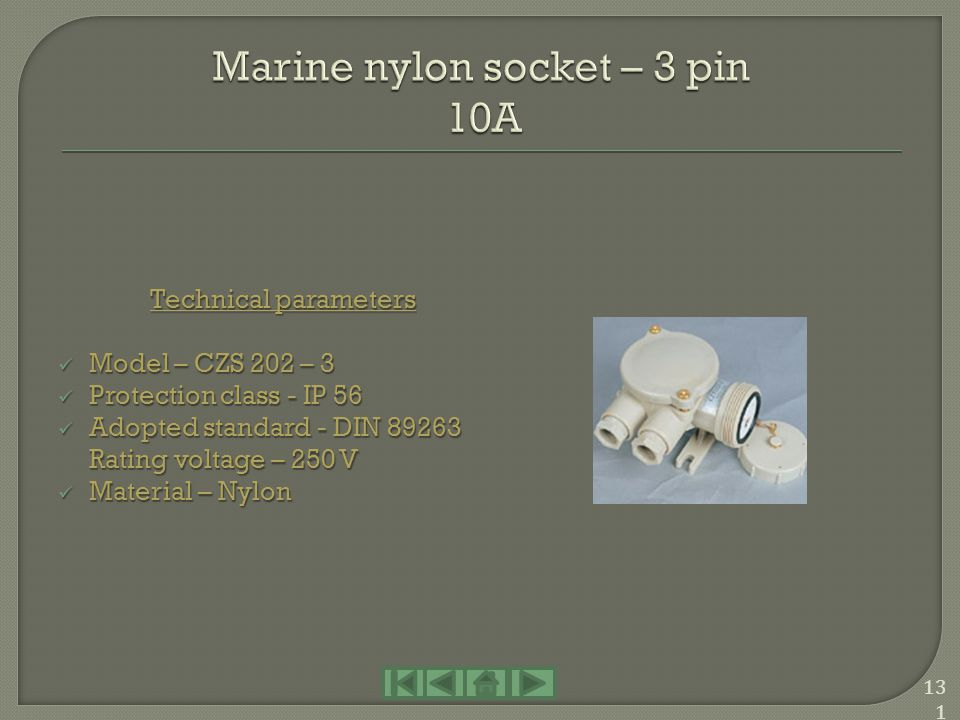 Marine nylon socket – 3 pin 10A