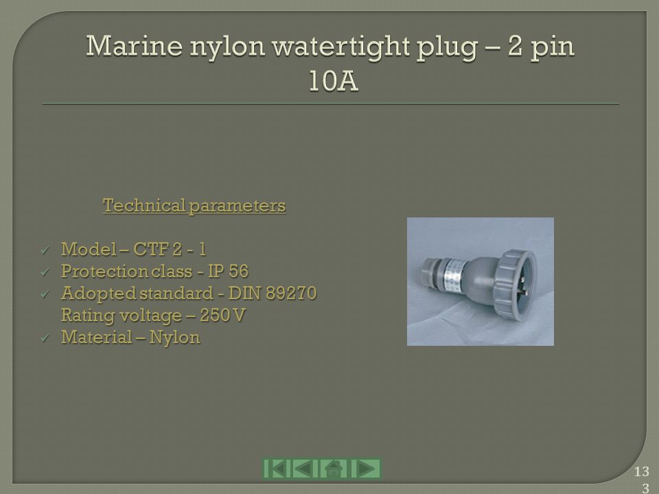 Marine nylon watertight plug – 2 pin 10A