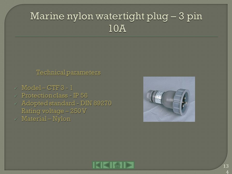 Marine nylon watertight plug – 3 pin 10A
