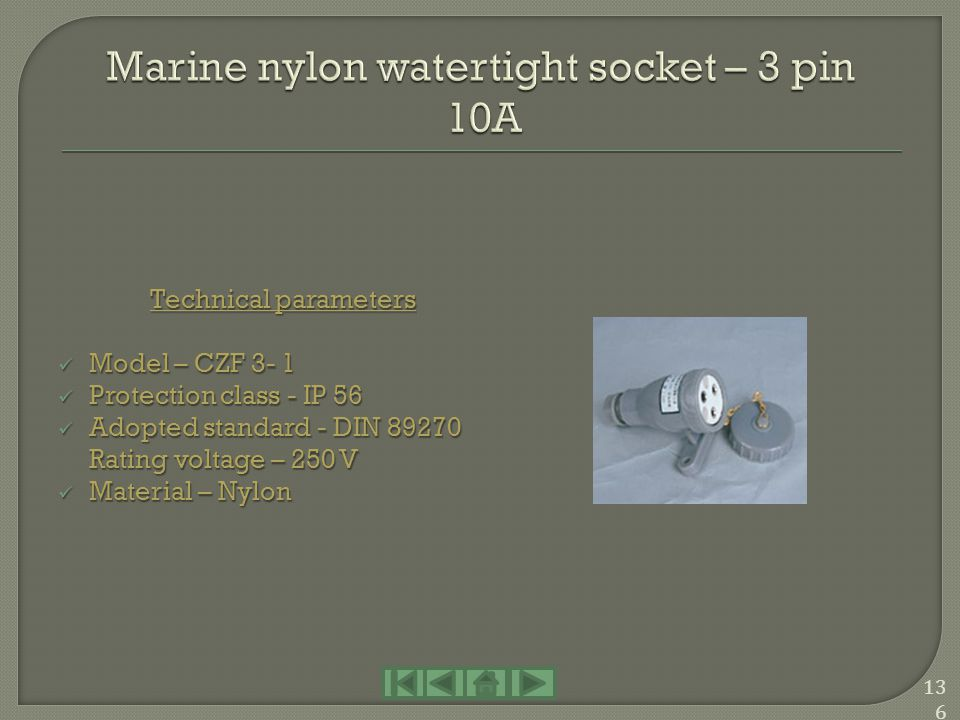 Marine nylon watertight socket – 3 pin 10A