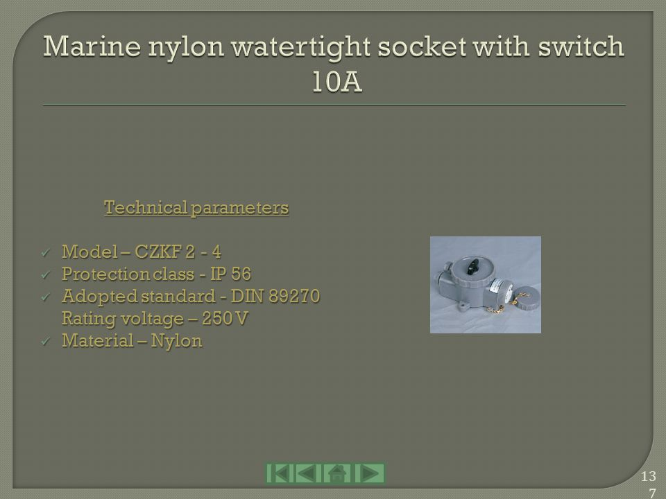 Marine nylon watertight socket with switch 10A