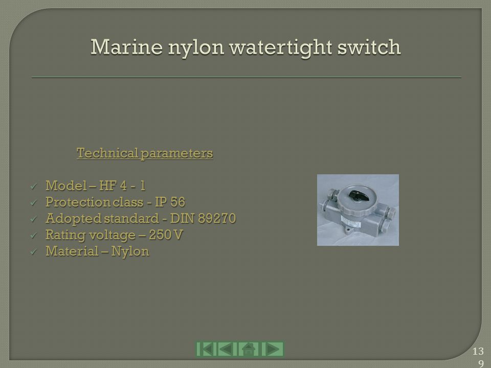 Marine nylon watertight switch