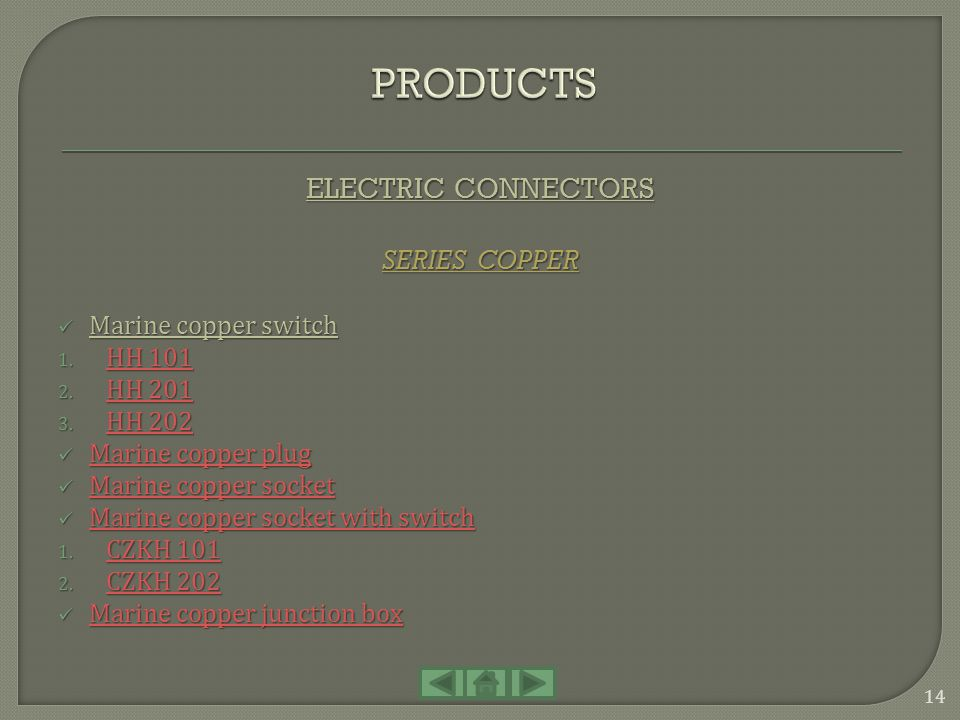 PRODUCTS ELECTRIC CONNECTORS SERIES COPPER Marine copper switch HH 101